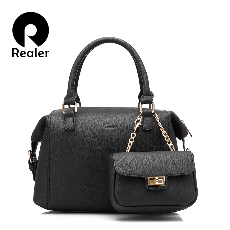 REALER women bag handbag women casual tote bag female solid boston bag small shoulder messenger bags chain clutch purse 2017 new clutch steam punk female satchel handbag gothic women messenger bags shoulder bag bolsa shoulder bags tote bag clutches