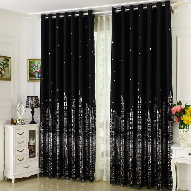 Mediterranean Silver Castle Star Shade Cloth Thick Blackout Curtains For  Living Room The Bedroom Window Treatment Panel Drape