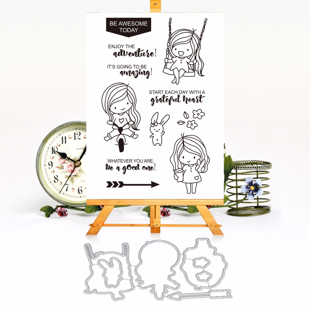 Smile Swinging Girl Clear Silicone Stamp and Cutting Dies Set for DIY Scrapbooking/photo Album Decorative Clear Stamp Sheets pig silicone clear stamp metal cutting dies stencil frame scrapbook album decor clear stamps scrapbooking accessories