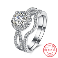 925 Sterling Silver Brand Engagement Ring Set Two Band 1 6 Carat Princess Cut Zirconia Crystal