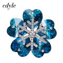 Cristales De Swarovski Cdyle Broches Mujeres Rhinestone Austríaco Joyería de Moda Elegante Elegante Azul Púrpura del Copo de nieve de Navidad