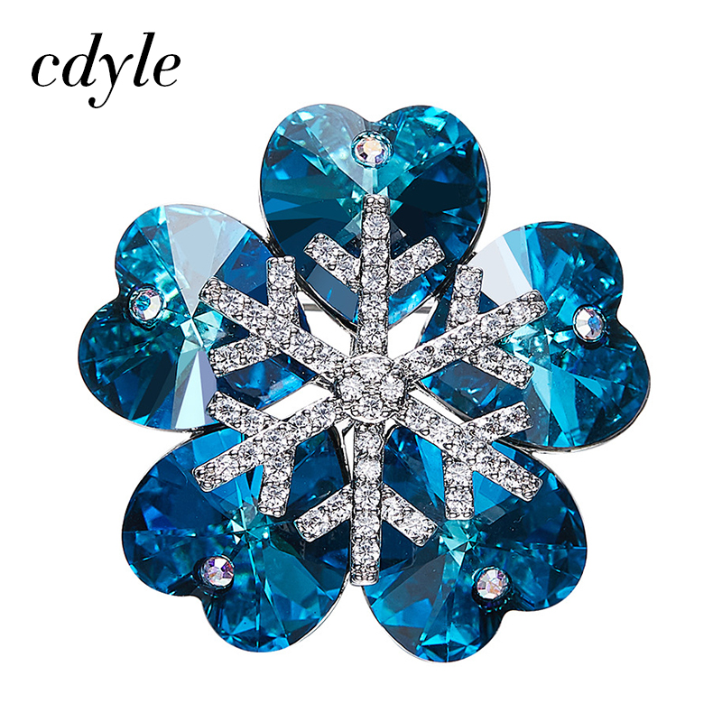 Cdyle Crystals from Swarovski Brooches Women Austrian Rhinestone Fashion Jewelry Elegant Chic Blue Purple Snowflake Christmas pair of elegant rhinestone snowflake earrings for women