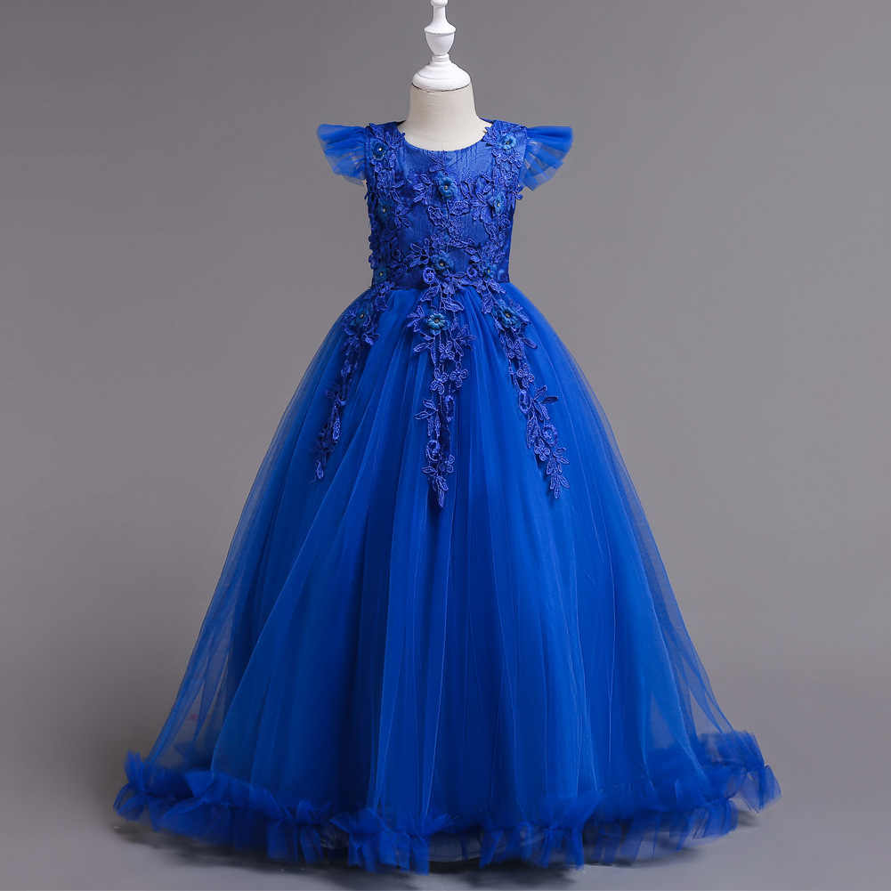 72555ef8228bd X089 Children Princess Wedding Flower Girl Royal Blue Dress Elegant ...