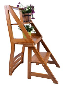 Smartlife  Natural Wood Multi-functional Convertible Folding Library Ladder Chair Four-Step Stool