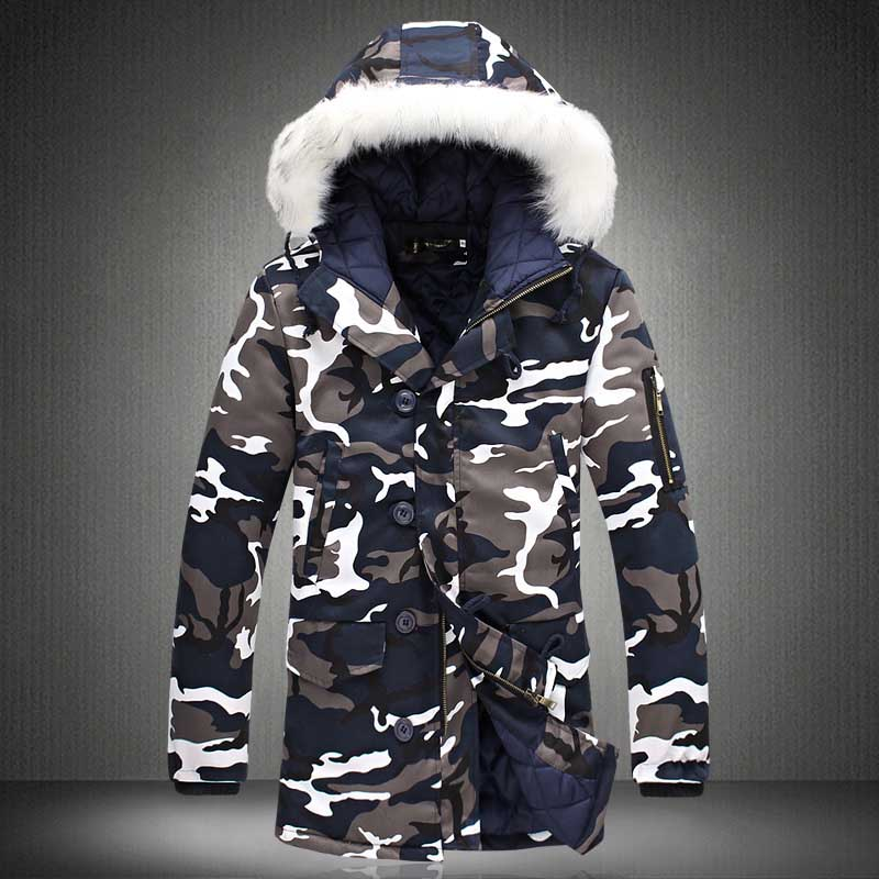 New Winter Men\`s Camouflage Jacket and Coats With Fur Hood Warm Thick Parka Fashion Designer Male Outwear Coats (8)