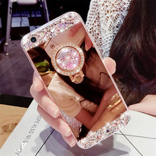 Bling Rhinestone Yumuşak Ayna Kılıf Parmak Yüzük Tutucu için Samsung Galaxy J1 J2 J3 J5 J7 A3 A5 A7 A8 artı 2016 2017 2018 AB Ba...