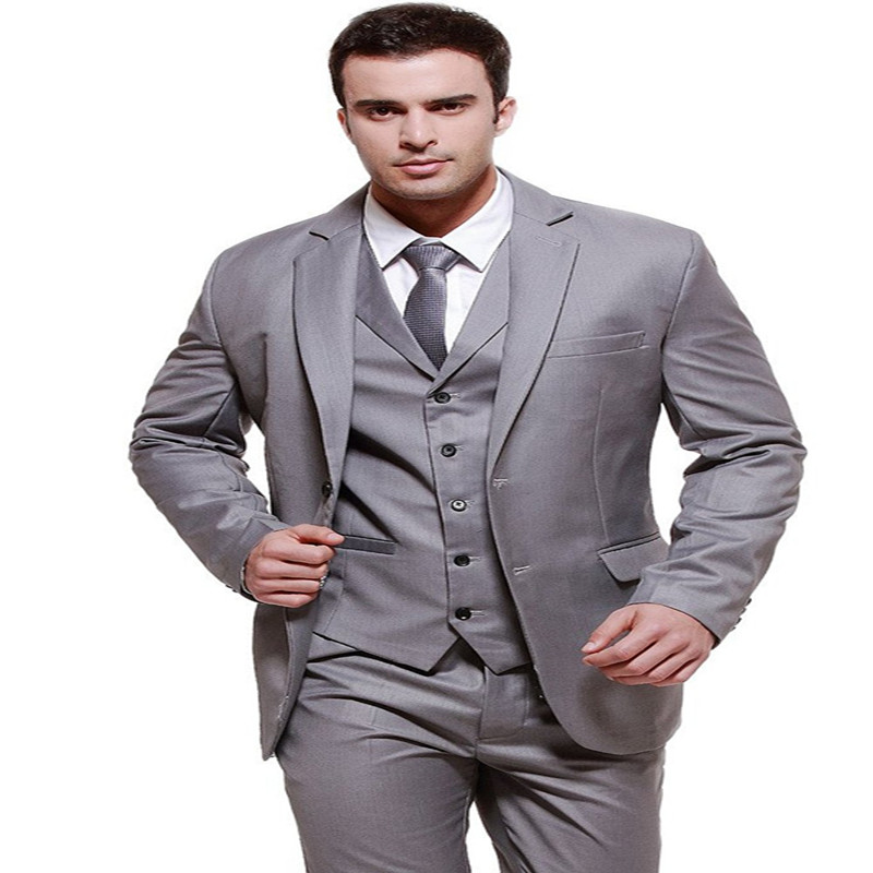 Grey Single Breasted Mens Suits 3 Pieces Wedding Suits for Men Groom Tuxedos Business Formal Suit (Jacket+Pants+vest+tie)