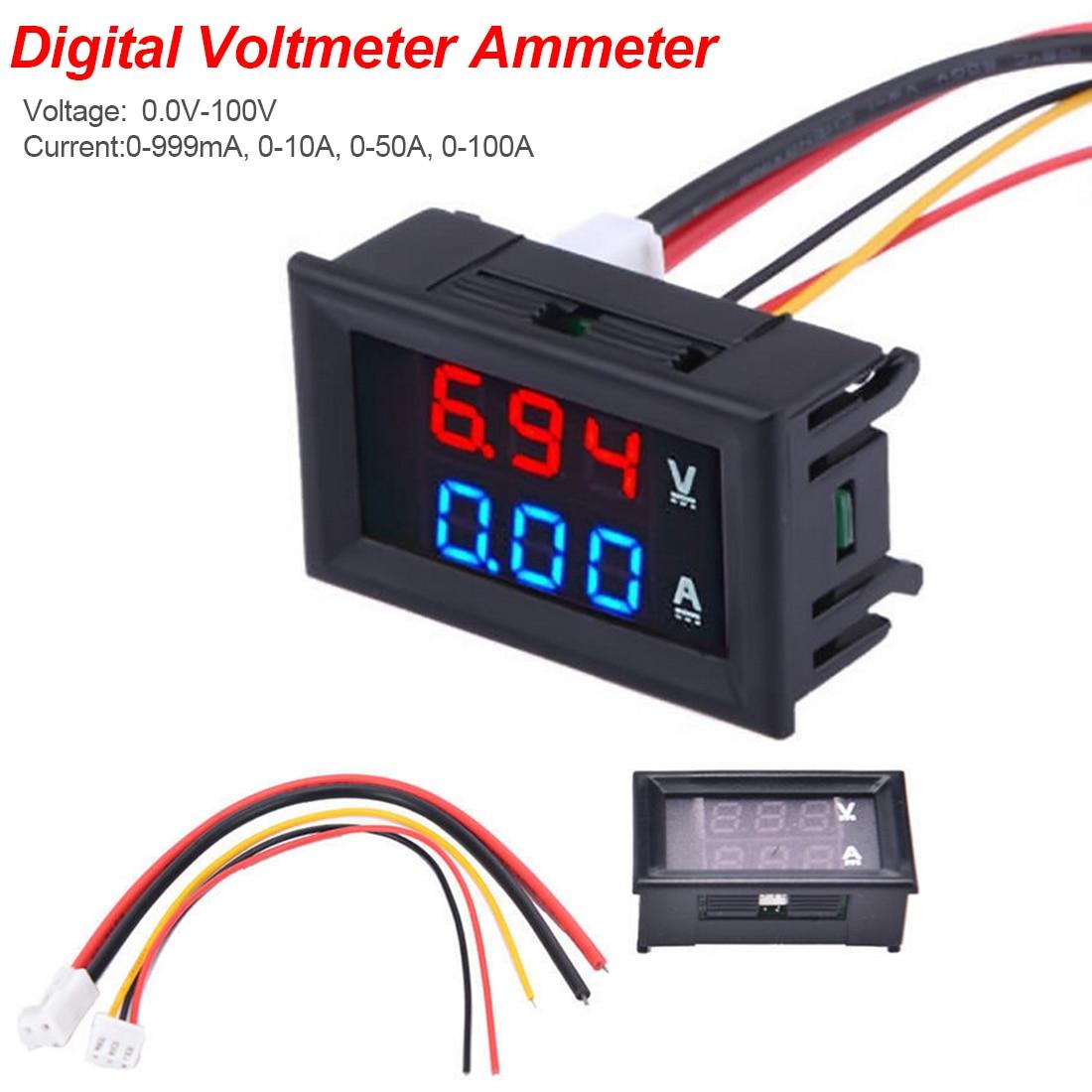 Red LED Dual Volt Amp Meter Gauge DC100V 10A Digital Voltmeter Ammeter Blue