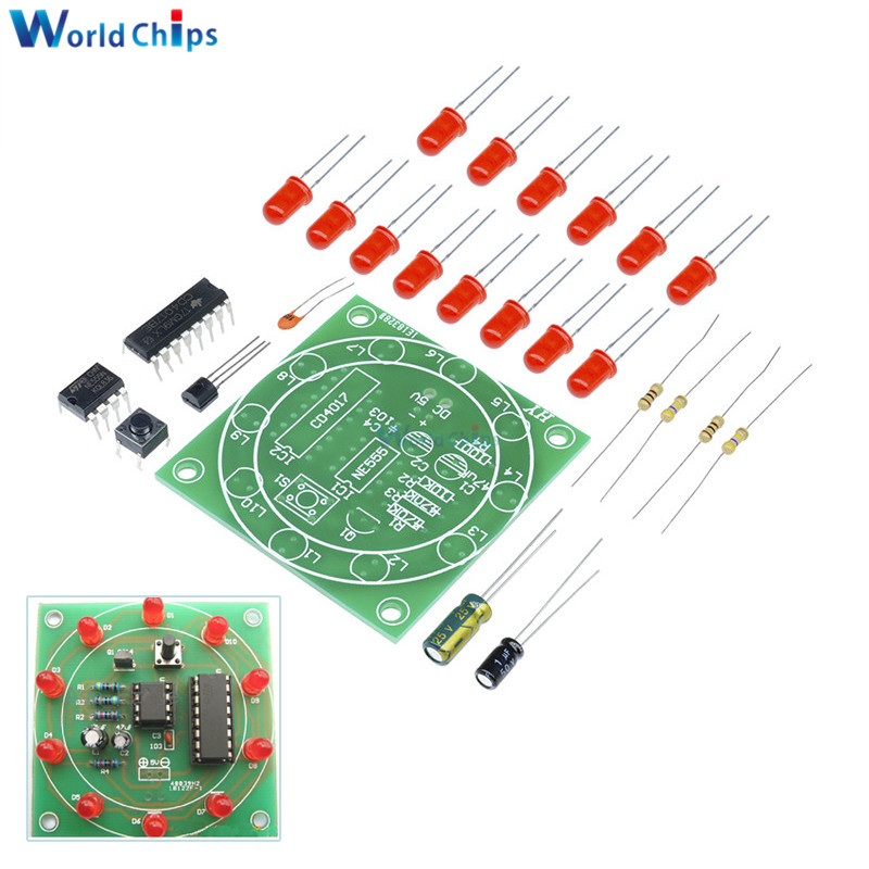 Integrated Circuits Ne555 Cd4017 Running Led Flow Light Electronic Production Suite Board Diy Kit Module Capacitor Control Oscillator Clock Siganal