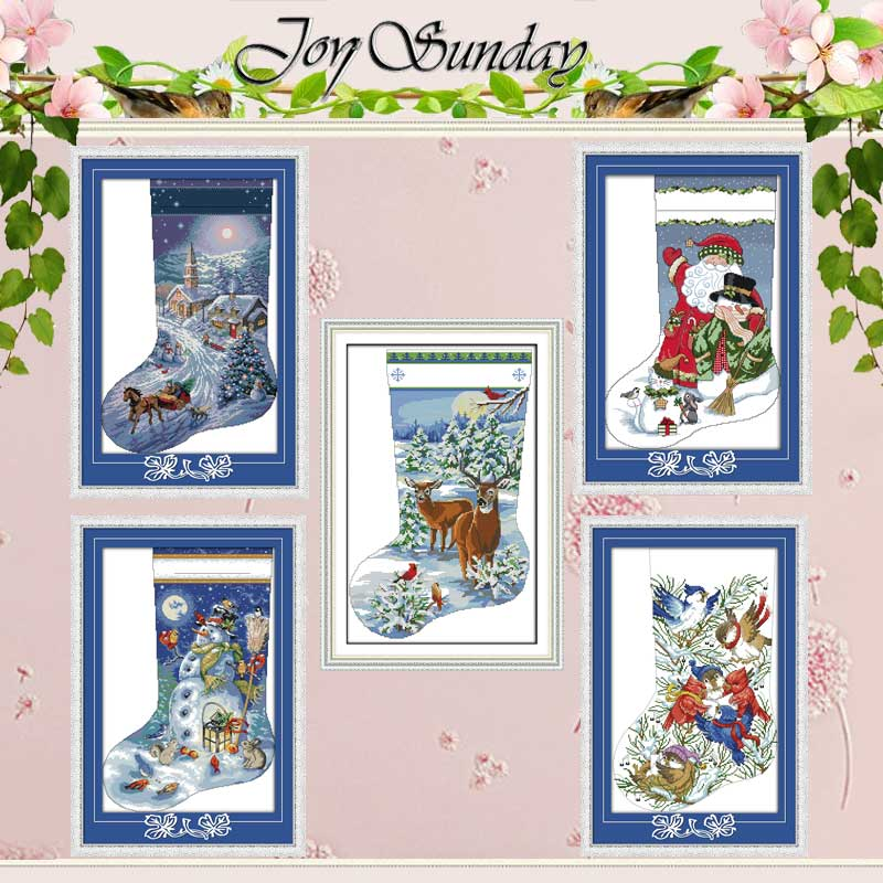 Christmas Stocking Patterns Counted Cross Stitch 11CT 14CT Cross Stitch Set Wholesale Cross-stitch Kit Embroidery Needlework