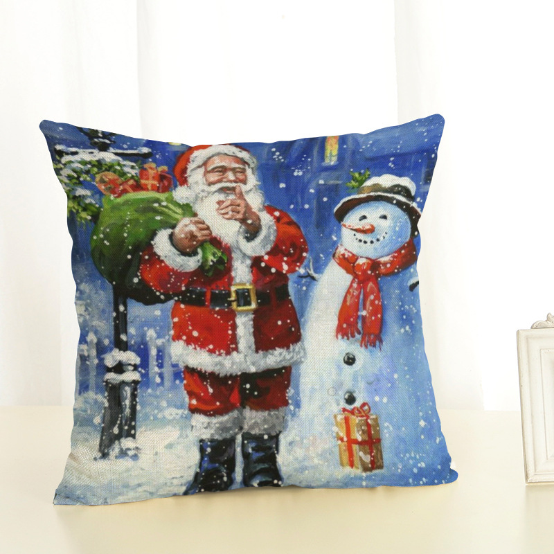 New Year Christmas Decorations For Home Christmas Pillow cover Santa Claus and Dog Cotton Linen Pillowcase Office Home Cushion (13)