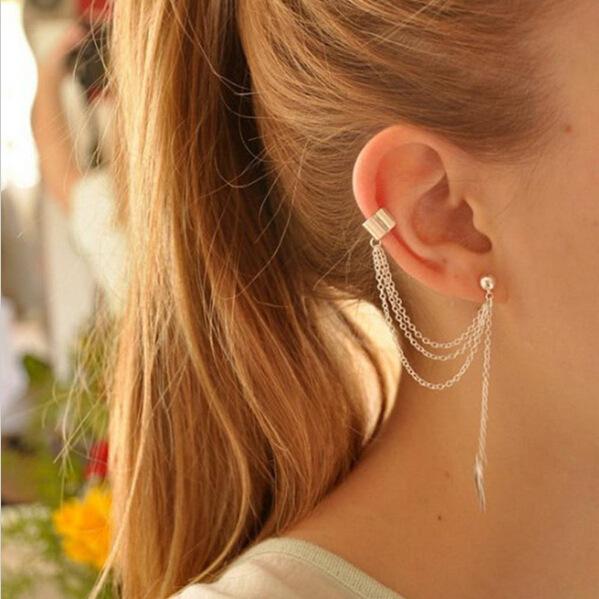 1 Pc 2017 New Fashion Personality Metal Ear Clip Leaf Tassel Earrings Pendientes Ear Cuff Women Caught In The Ear Cuffs Jewelry