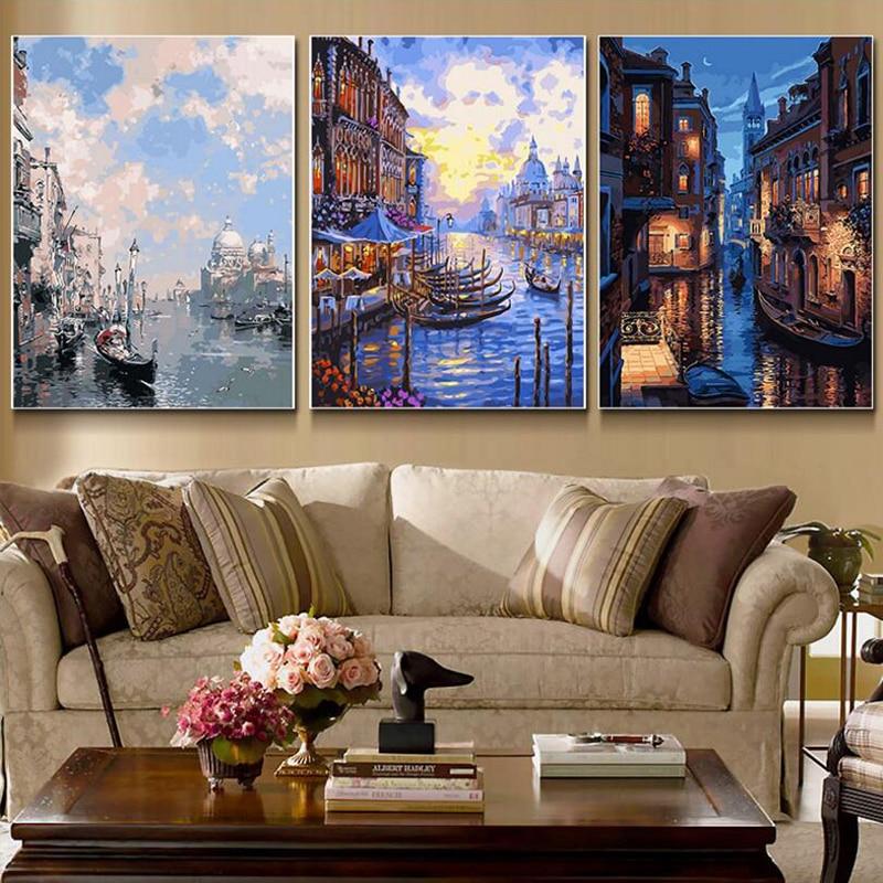 3 Teilesatz Hause Schönheit ölfarbe Malen Nach Zahlen Diy Bild Zeichnung Färbung Auf Leinwand Malerei Von Hand Wandfarbe Landschaft