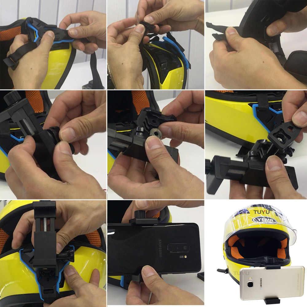 TUYU kask motocyklowy podbródek dla Gopro wszystkie kamery kask motocyklowy podbródek adapter do Gopro Hero 8 7 6 5 SJCAM Yi