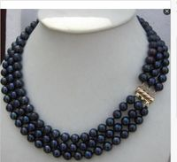 triple strands 8 9mm tahitian black blue pearl necklace 181920 14k gold clasp