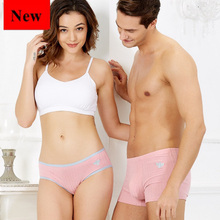 New Fashion Couple Underwear Set Comfort Shorts Cotton Macaron Pink Bee Embroidery Men boxer Women Panties