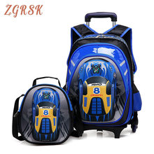 Children 2PCS/SET Oxford School Back Pack Bags Removable Boys Girls Trolley Backpack 2/6 Wheels Child Kids Rolling Backpacks