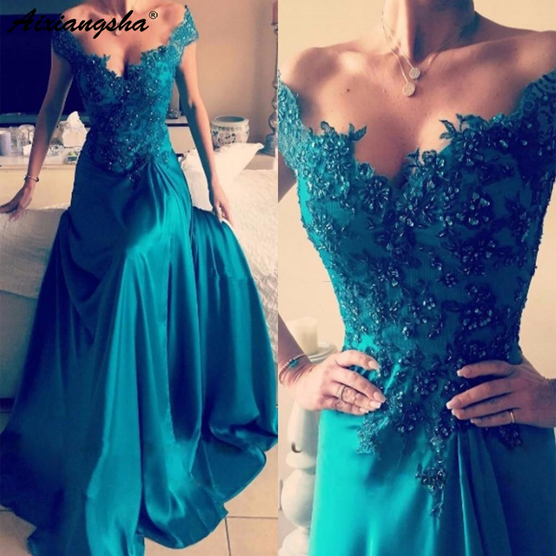 Elegant Turquoise Green 2019 Long   Evening     Dresses   Applique Sequins Satin Split Side Backless Formal   Evening   Gowns robe de soire