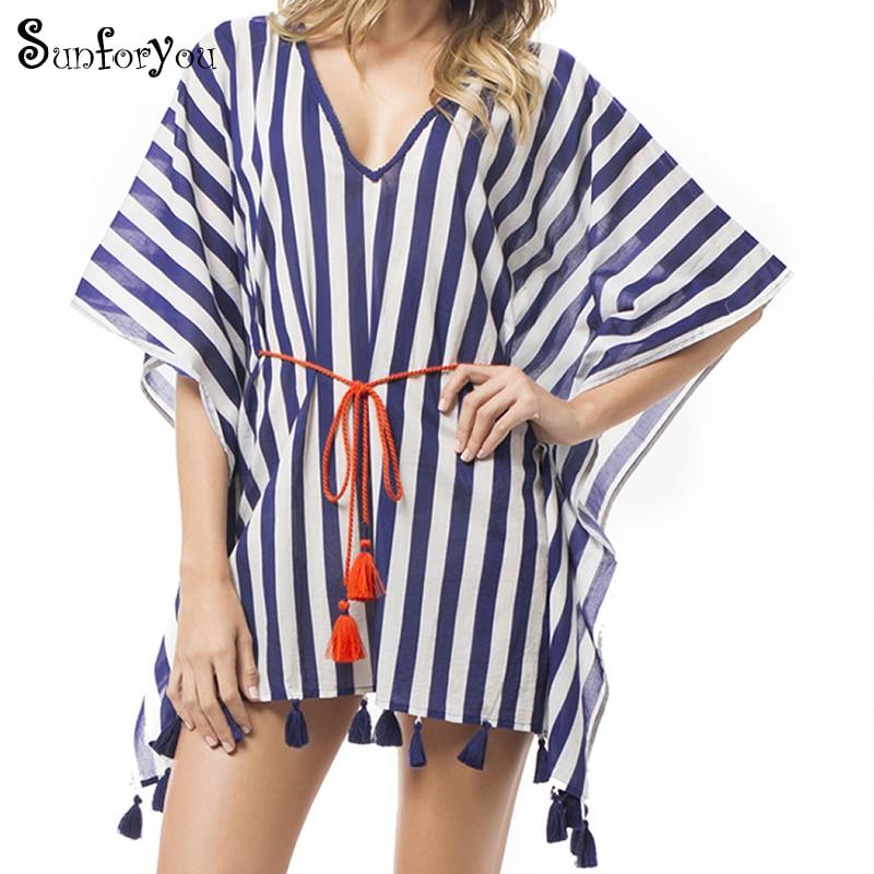 6b4da9d4a0690 New Striped Boho Beach Dress V-neck Tassel Sashes Loose Mini Dress Tunic for  Beach