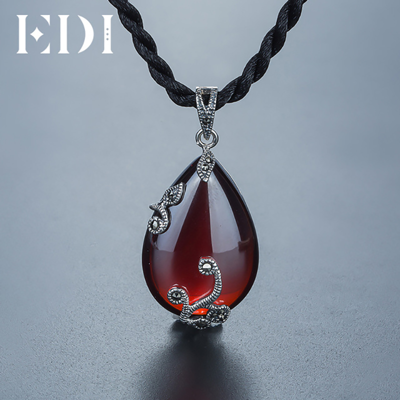 EDI egyedi Retro nő 925 ezüst nyakláncok drágakő virág Ruby - Finom ékszerek