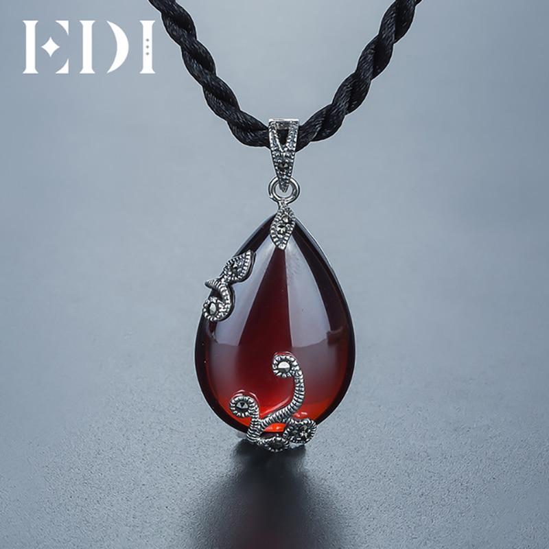 все цены на EDI Unique Retro Woman 925 Silver Necklaces Gemstone Flower Ruby Pendants Chain Choker Necklace For Women Wedding Fine Jewelry онлайн
