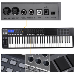 Image 4 - Wereldje Draagbare 61 Key Midi Keyboard Midi Controller 8 Rgb Kleurrijke Backlit Trigger Pads Met Usb Kabel Piano Toetsenbord synthesi