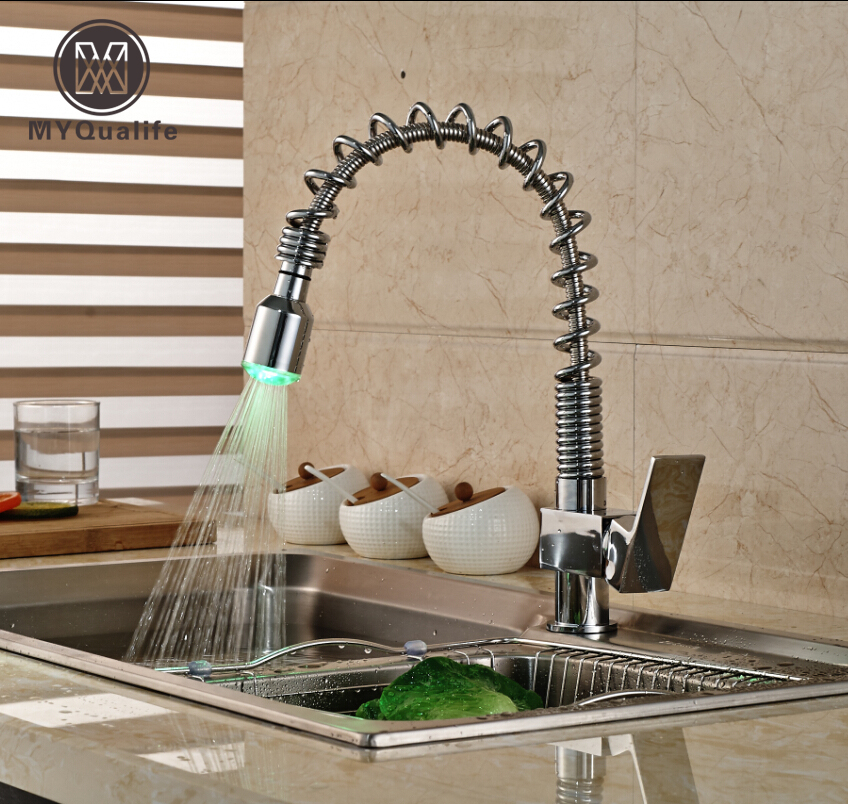 Chrome Brass Pull Out Spring Pull Down Kitchen Sink Faucet Single Lever Color Changing LED Mixer Water Taps