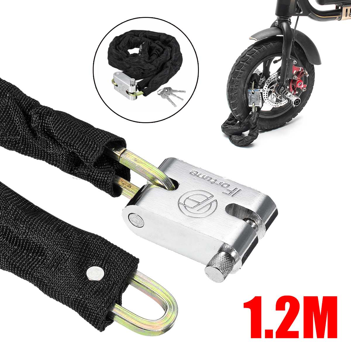 Motorbike Motorcycle Scooter Bicycle Bike Cycling Security Steel Chain U D  a