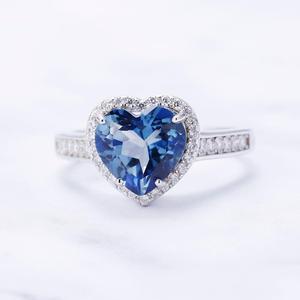 Image 4 - GEMS בלט 925 סטרלינג כסף לב צורת 2.47Ct הטבעי Iolite כחול מיסטיק קוורץ חן טבעות לתכשיטי נשים