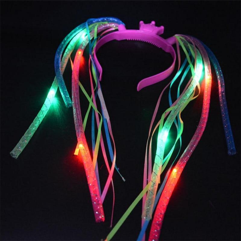 35 unit / lot Grosir Menyala warna-warni Kepang Mahkota Kepala Band Lampu LED Party Headband Rave Party
