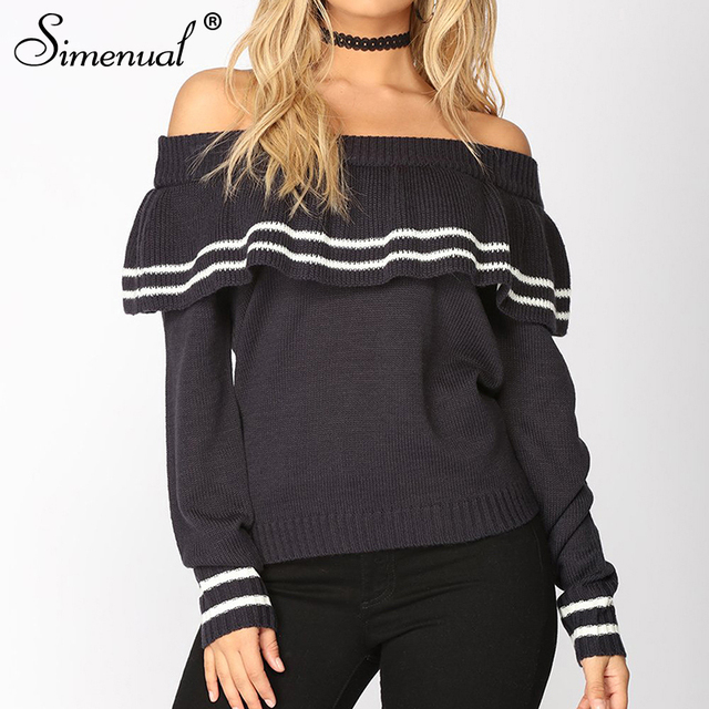 ecef18ea9c Simenual Ruffles off the shoulder sweater autumn 2018 stripe fashion  knitted jumper pullover female slash sexy women sweaters