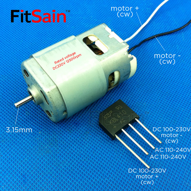 FitSain--DC220V 12500rpm motor shaft 3.15mm Large Torque high-power Double ball bearing Electric tool