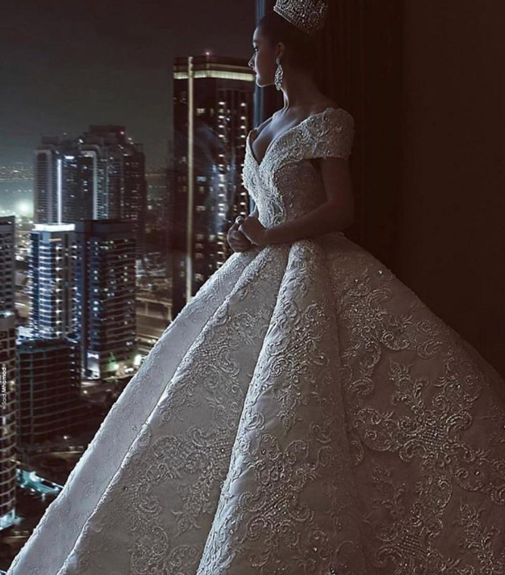 Eslieb High end Custom made Lace crystal Wedding dress 2018 Long train Ball Gown Wedding dresses