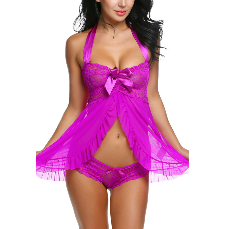 Valentine's Robe Sexy Costumes Halter Nightwear Babydoll Sexy Women Erotic Nightwear Dress bow temptation sex toy lenceria 31027