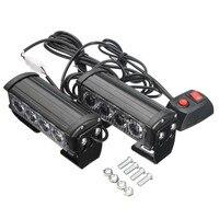 4 Led Car Vechicle Emergency Strobe Flash Warning Light Lamp 12V 8 Led Flashing Lights Red