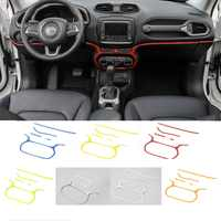 MOPAI ABS 5 Pc Car Interior Central Control Dash Board Air Conditioning Switch Decoration Stickers For Jeep Renegade 2015-2016