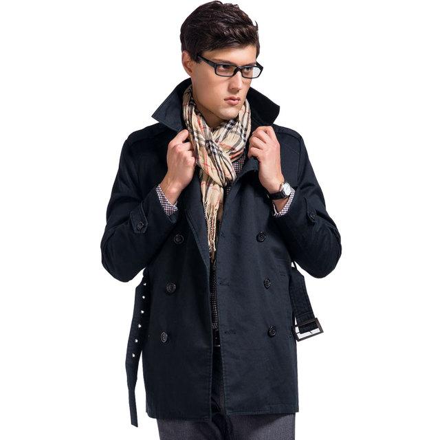 Lesmart trench coat dos homens de negócios de moda casual de algodão poliéster sólidos double breasted longo caixilhos slim fit todo o jogo