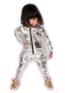 Image 5 - Spring Autumn Kids Silver bomber Jacket Stage Performance Wear paillette feminina casaco Hip Hop dance coat