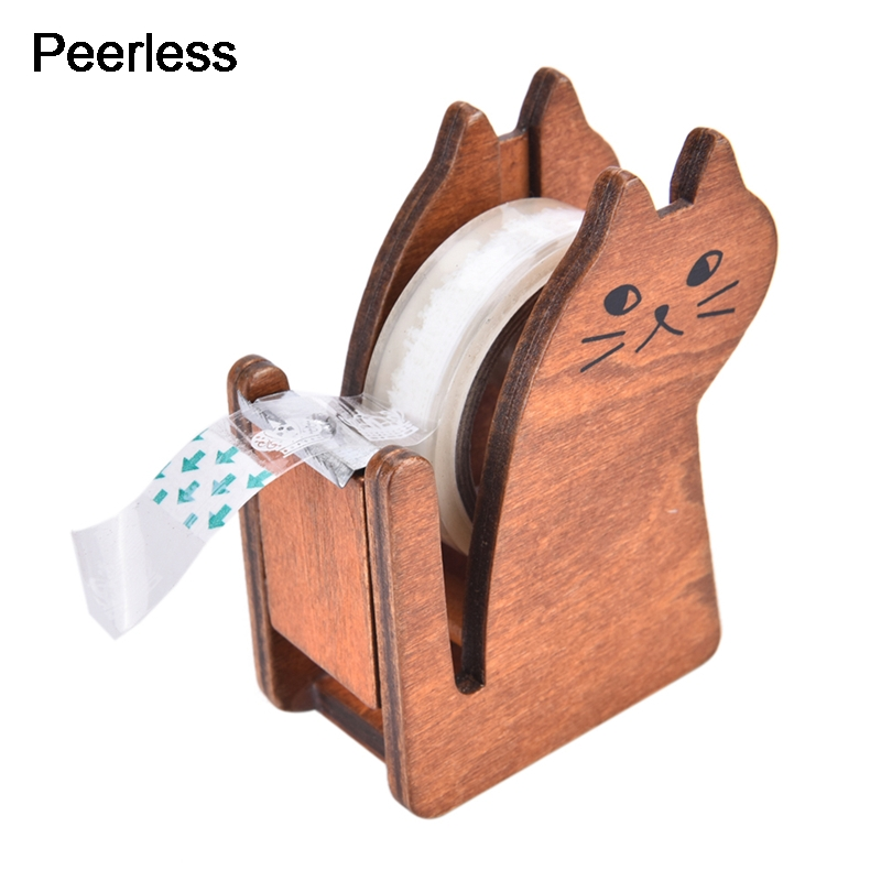 Peerless Coffee Color Cartoon Cat Wooden Tape Dispenser Tape Holder