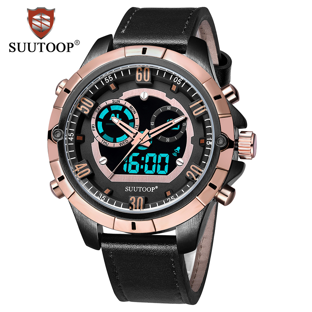 SUUTOOP New Men's Fashion Sport Digital Watches Quartz Clock Man Leather Business Casual Waterproof Gift Watch Relogio Masculino splendid brand new boys girls students time clock electronic digital lcd wrist sport watch