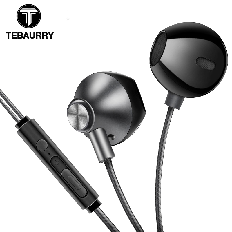 TEBAURRY Metal Phone Earphones Half In-ear Earphone with Microphone Bass Headset Earbuds for iphone Xiaomi kualkik ecouteur h08 bluetooth headset wireless headphone in ear stereo earphone microphone for xiaomi lg iphone earbuds auriculares ecouteur