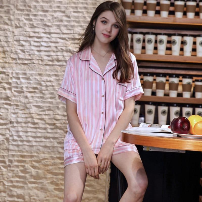 SSH0217 Satin Silk Pajamas Women Sexy Short Sleeves Summer Pajama Sets Female Pyjama Set Ladies Striped Silk Sleepwear Nightwear