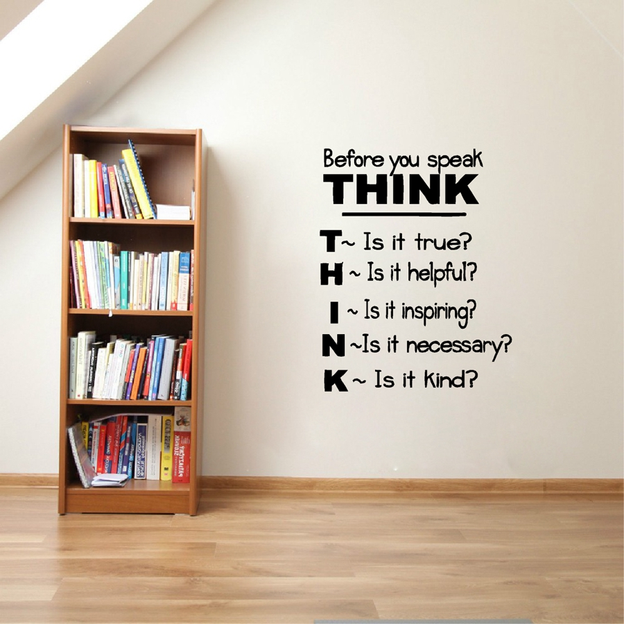 Think Before You Speak... Motivational Quotes Vinyl Wall Decals Inspirational Saying Wall Sticker Classroom Study Room Decor