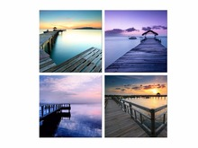 4 Panel HD Canvas Art Sunset Seascape Wall Painting For Home Artwork Decor Framed