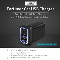 car USB charger quick charge 2.0A 220V 2 Port USB2.0 for iphone Micro USB Type C Phone Charge for Fortuner