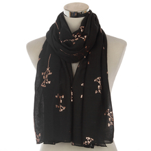Winfox New Ladies Navy Pink Metallic Foil Rose Gold Floral Tree Branches Scarf Evening Wrap Shawl Women Gifts
