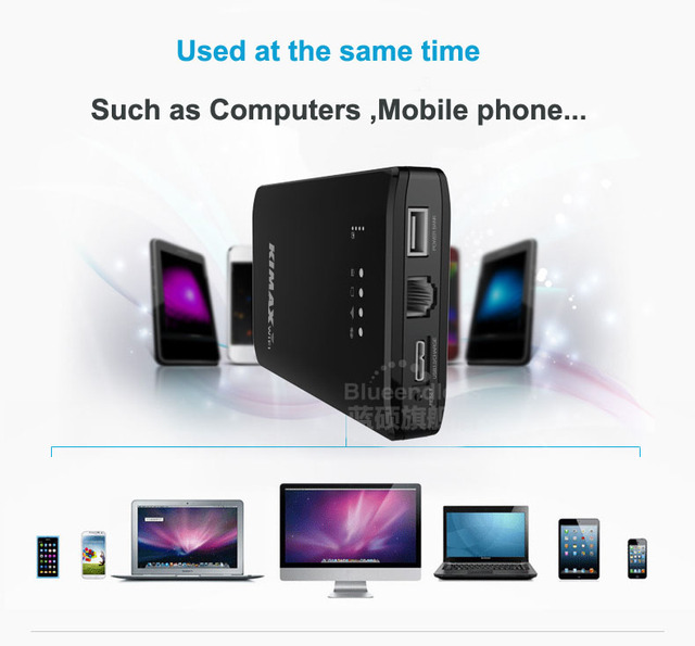 Color negro Wifi Router Repetidor Inalámbrico a 300 Mbps USB 3.0 Cable de Señal Expander booster Wi-fi con 4000 mah de La Batería