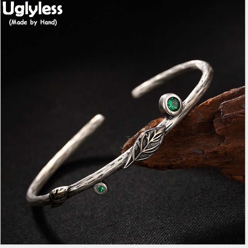 Uglyless Real 925 Sterling Thai Silver Bangles for Women Vintage Leaf Fine Jewelry Pretty Green Crystal Bangle Thin Wrist BijouxUglyless Real 925 Sterling Thai Silver Bangles for Women Vintage Leaf Fine Jewelry Pretty Green Crystal Bangle Thin Wrist Bijoux