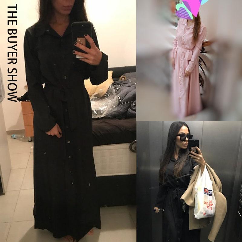Elegant Women Fashion Long Sleeve Bandage Maxi Shirt Party Dress Ladies Single Breasted Buttons Floor Length Vestidos WS9871E 2