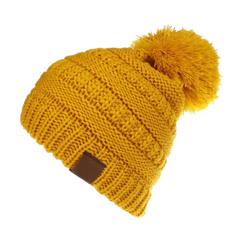 Moda Infantil Hat Skullies Gorros Pompom Crianças CC Cabo Malha ... 7d228844ddf